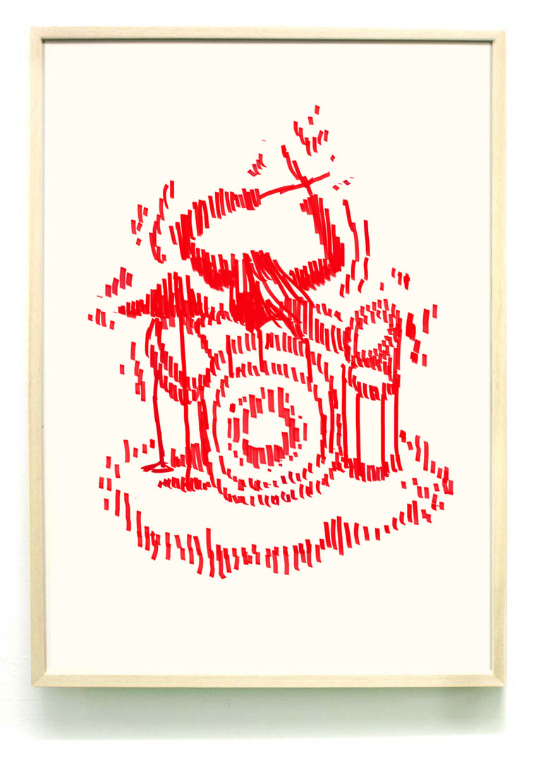 Drummer girl screenprint - 50x70mm